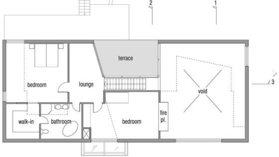 Plano de casa pasiva segundo nivel
