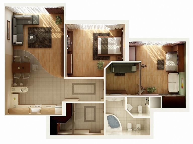 Planos de apartamentos en 3d dise os modernos construye - Architectural plan of two bedroom flat with dining room ...