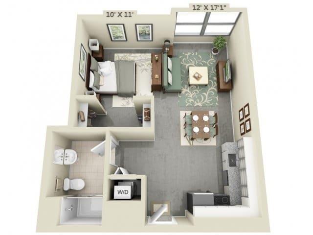 Planos de apartamentos peque os de un dormitorio dise os for Plano de cocina de 9m2