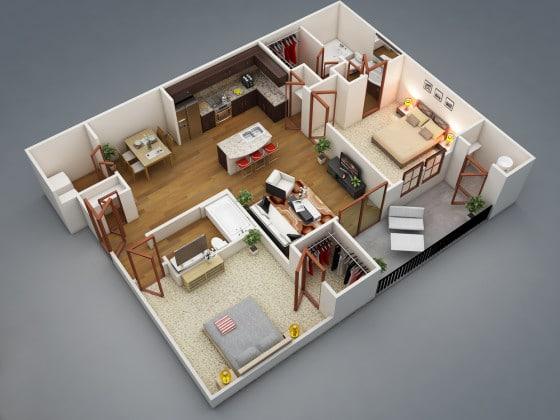 Plano de moderno departamento en 3D