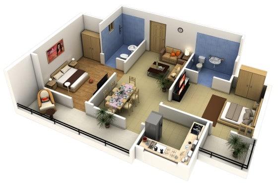 Plano de departamento en 3D con cocina cerrada y dormitorios