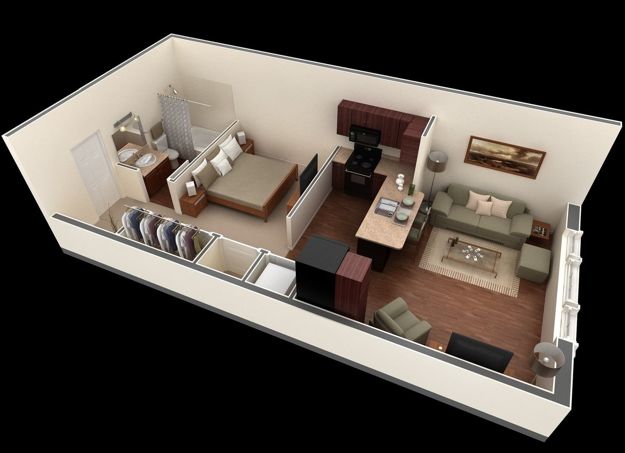 Planos de apartamentos peque os en 3d for Ideas para departamentos chicos