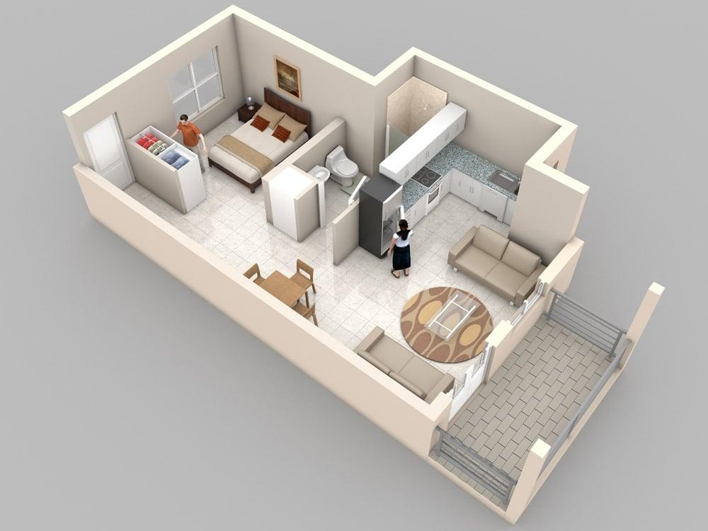 Planos de apartamentos peque os de un dormitorio dise os for Plano de pieza cocina y bano