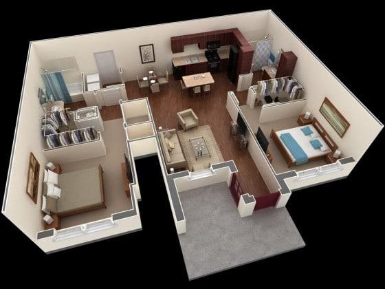Plano de departamento con sala, comedor, cocina y 2 dormitorios