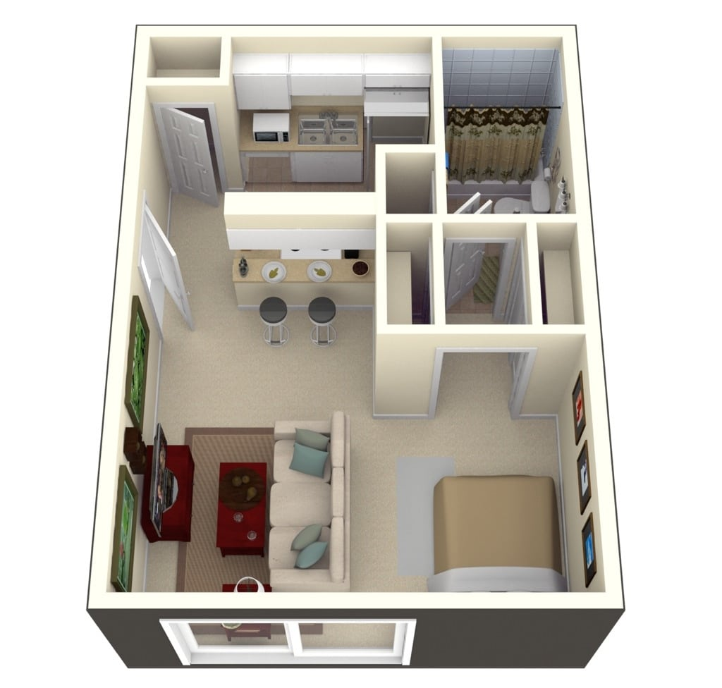 Planos de apartamentos peque os en 3d for 300 sq ft house plans in india