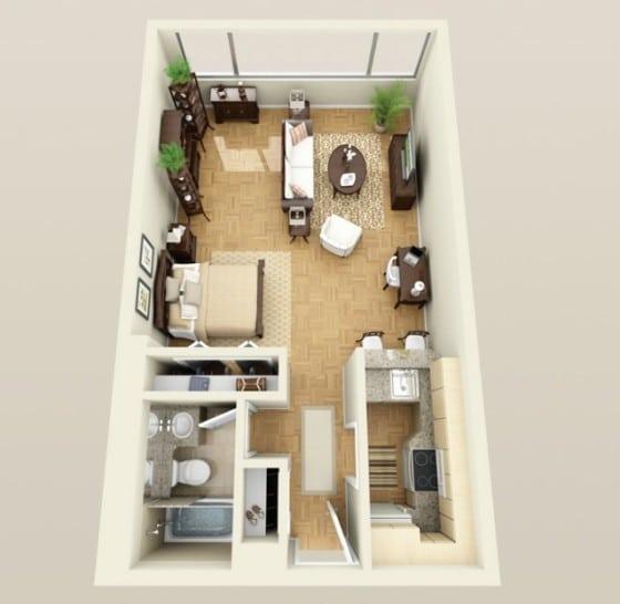 Plano de mini departamento largo y delgado