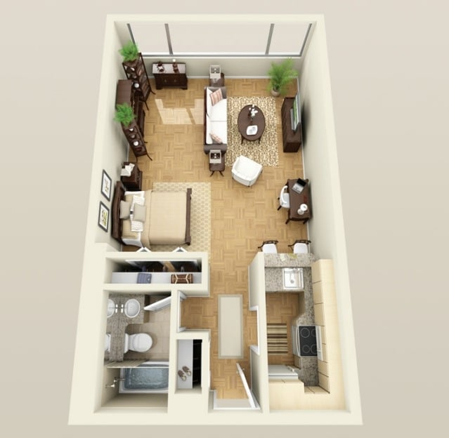 Planos de apartamentos peque os de un dormitorio dise os for Decoracion mini departamentos