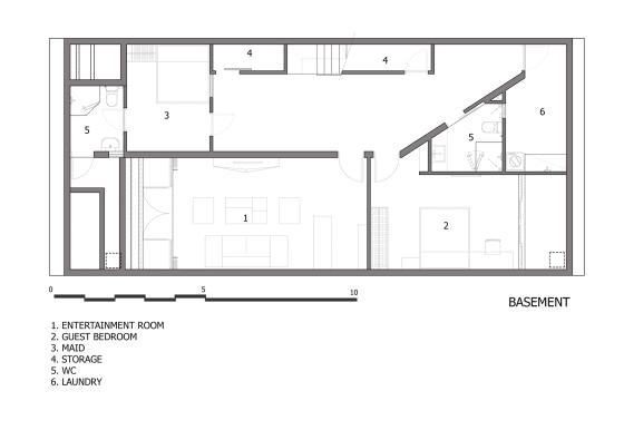 Plano de sótano de casa de tres pisos