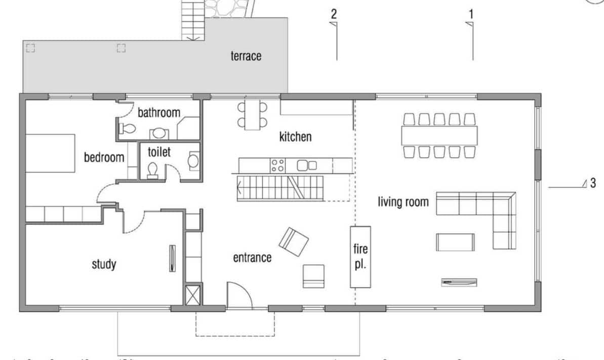 Dise o de casa pasiva de dos pisos fachada y planos for Plano casa un piso