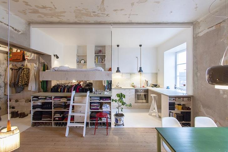 dise o de planos de apartamento peque o de un dormitorio. Black Bedroom Furniture Sets. Home Design Ideas
