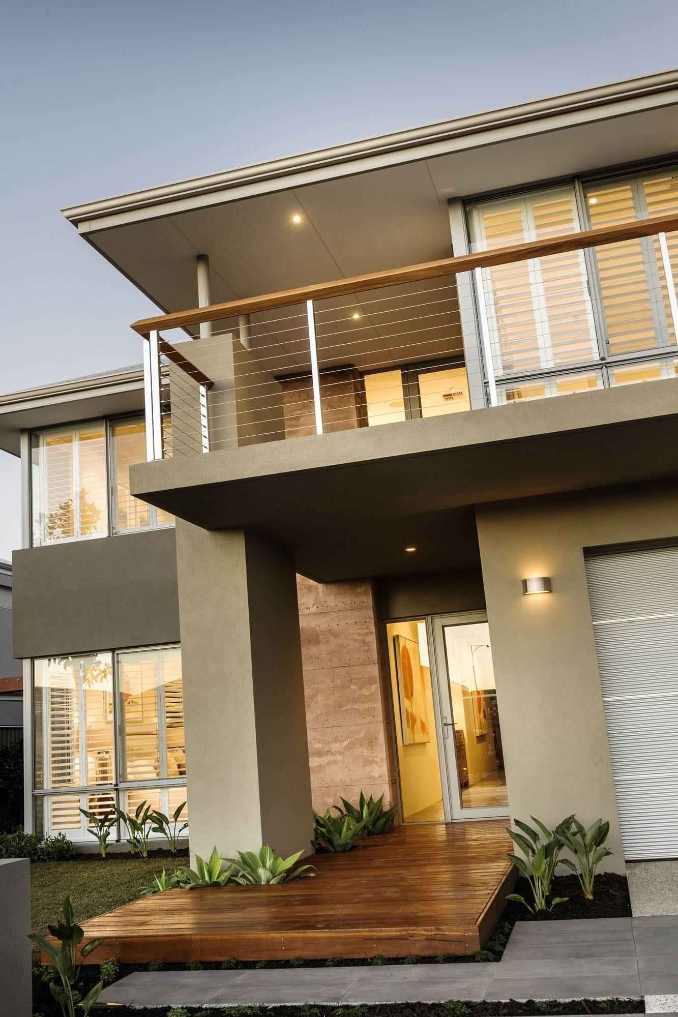 Dise o de casa moderna de dos pisos fachada e interiores for Fachada de casas modernas con balcon