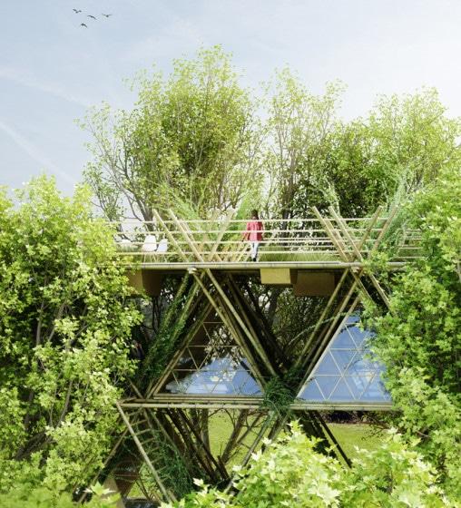 Diseño de casa con varillas de bambú