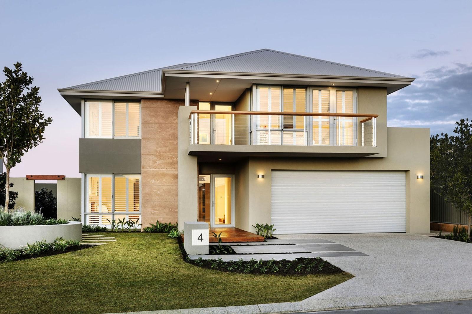 Dise o de casa moderna de dos pisos fachada e interiores for Disenos para frentes de casas