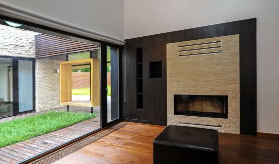 Diseño de chimenea moderna de piedra