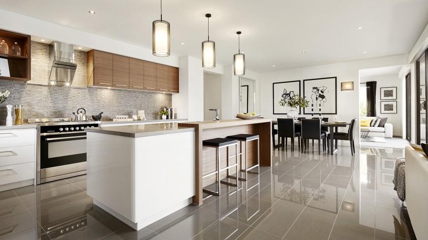 Casa de un piso moderna dos fachadas y dise o interior for Muebles modernos para cocina comedor