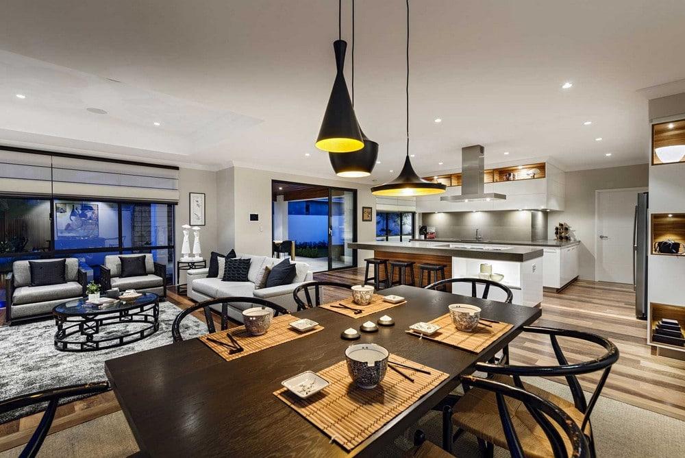 Dise o de casa de un piso estilo oriental con planos for Lamparas de comedor de diseno