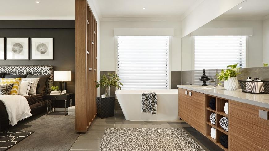 Casa de un piso moderna dos fachadas y dise o interior for Diseno de habitacion con bano y cocina