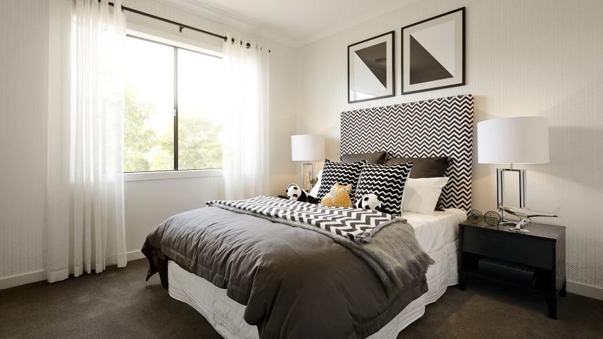 Casa de un piso moderna dos fachadas y dise o interior for Dormitorio moderno blanco y gris