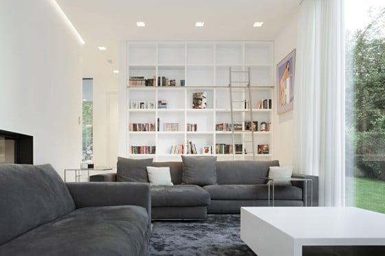 Diseño de estar con librero