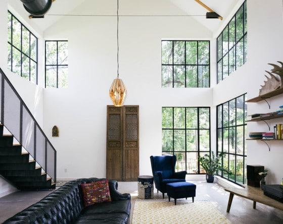 Diseño de interiores de sala de casa de campo