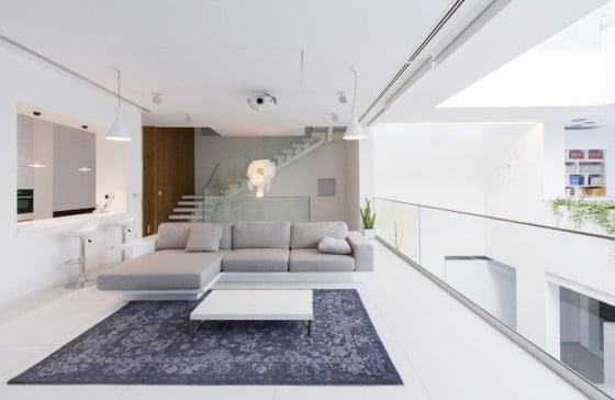 Diseño de interiores de estar y cocina moderno