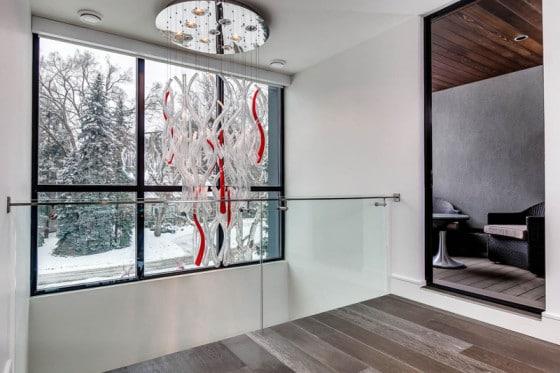 Diseño de lámpara de techo blanco y rojo