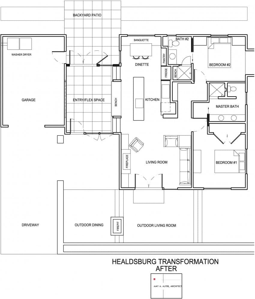 Dise o de casa de una planta planos fachada e interior for Viviendas modernas de una planta