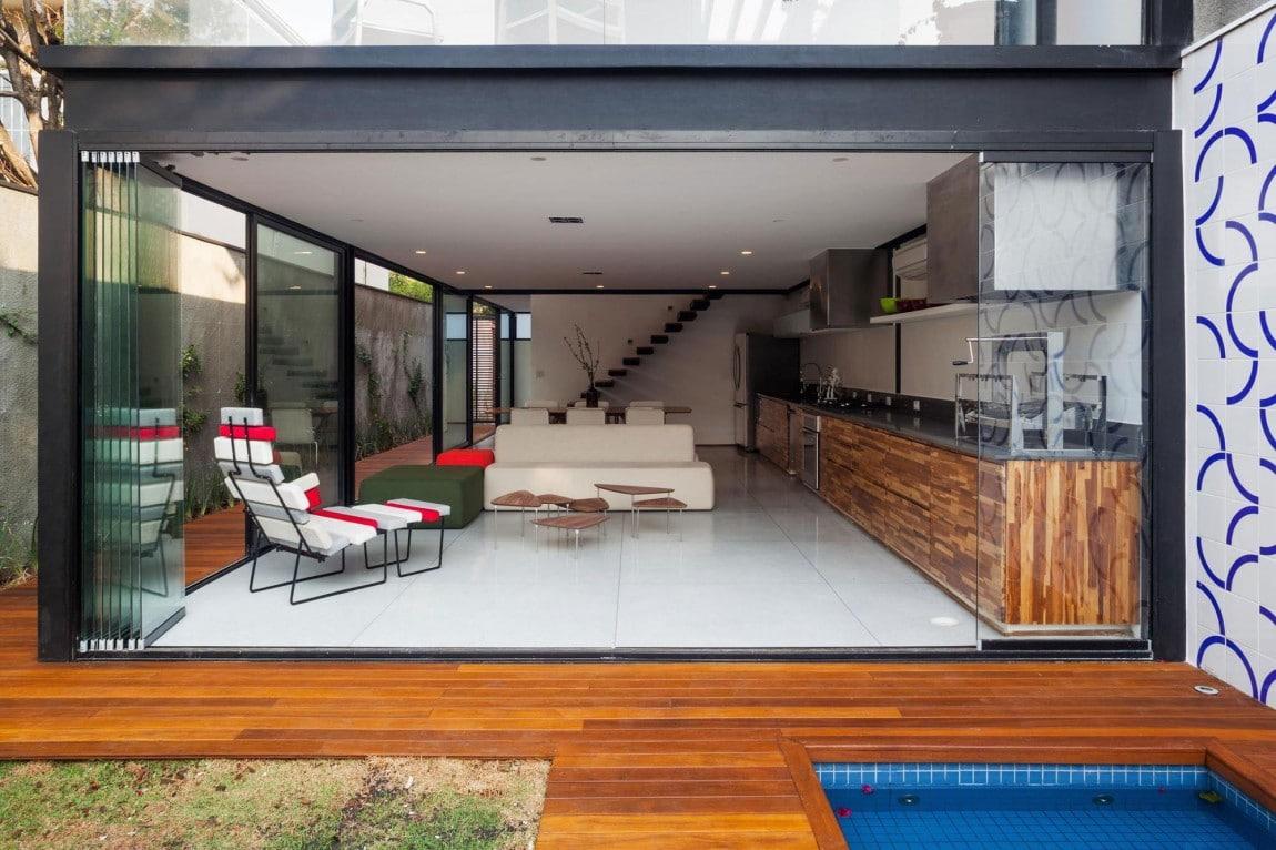 Dise o de casa larga y angosta con planos y fachada inlcuida for Crear una sala de estar rectangular