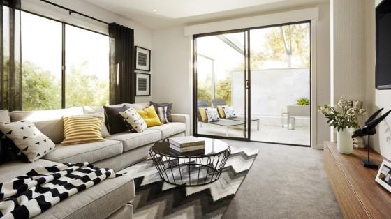 Diseño de sala con terraza