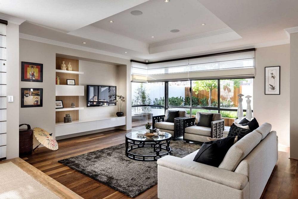 Dise o de casa de un piso estilo oriental con planos - Salones estilo zen ...