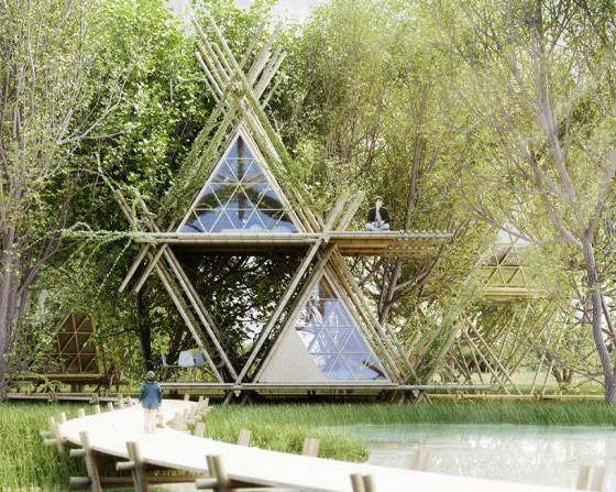 Diseño de vivienda ecológica de bambú en dos niveles