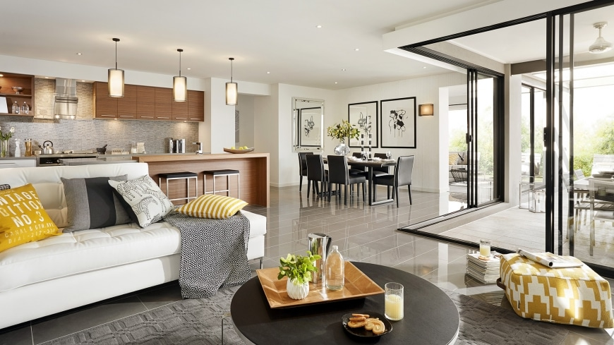 Casa de un piso moderna dos fachadas y dise o interior for Pisos para sala comedor y cocina