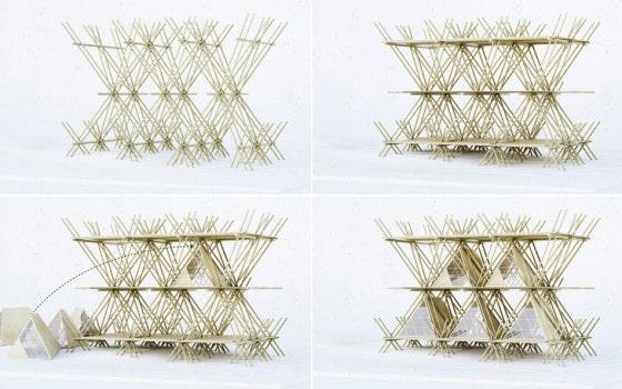 Estructuras de bambú en construcción