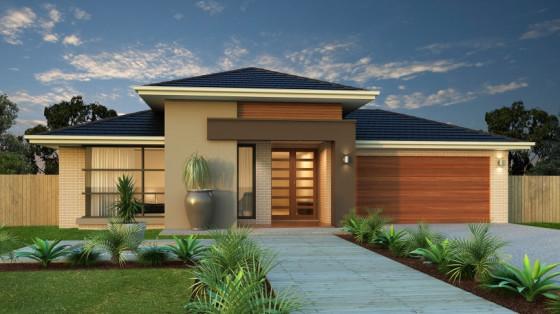 Fachada de casa moderna de un nivel