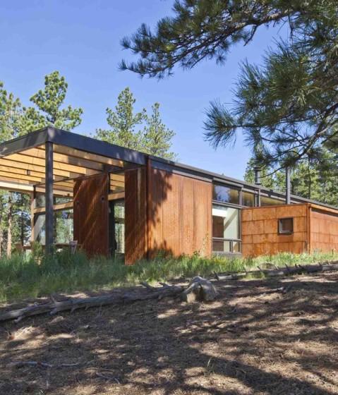 Fachada de pequeña casa autosustentable construida de madera y metal
