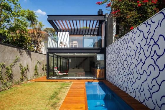 Dise o de casa larga y angosta con planos y fachada inlcuida Piscina interior precio