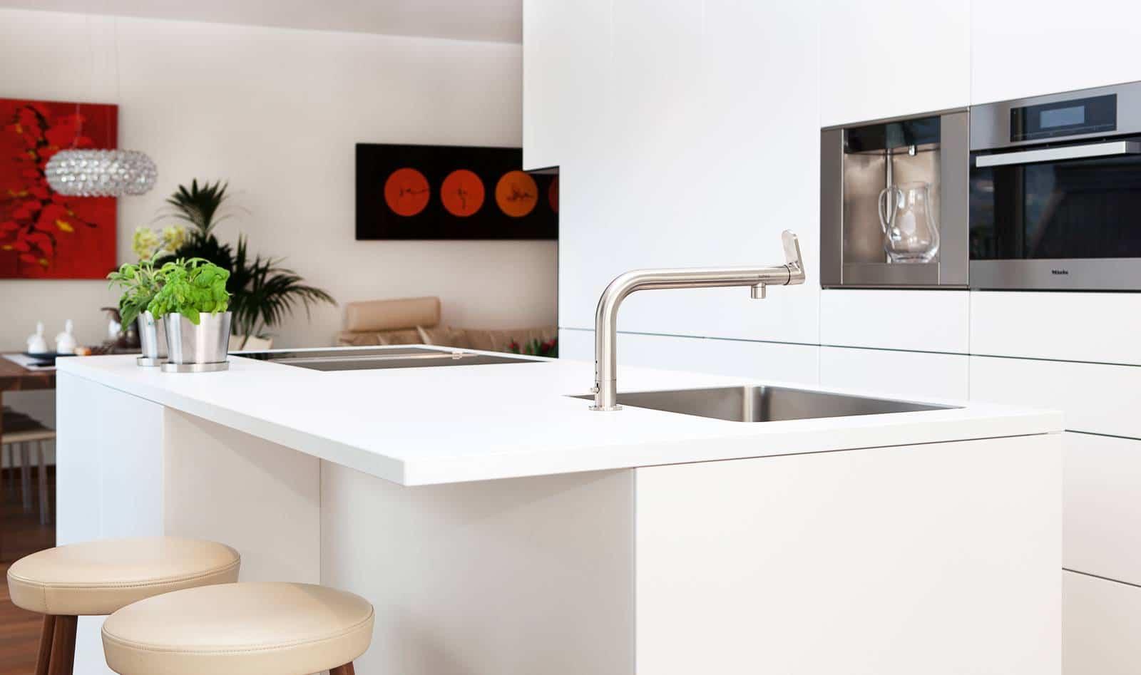 Dise o de planos de apartamento e interior construye hogar - Cocinas de color blanco ...