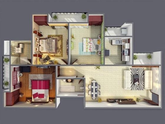 Plano de apartamento de 3 habitaciones con decoración de interiores