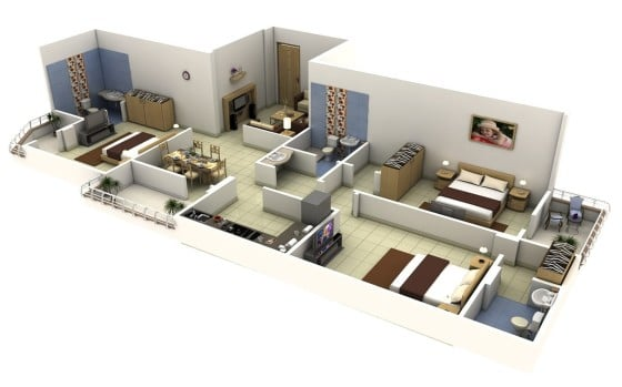 Plano de apartamento largo de 3 habitaciones