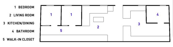 Plano de apartamento de dos habitaciones