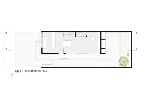 Plano de casa en terreno pequeño largo y angosto