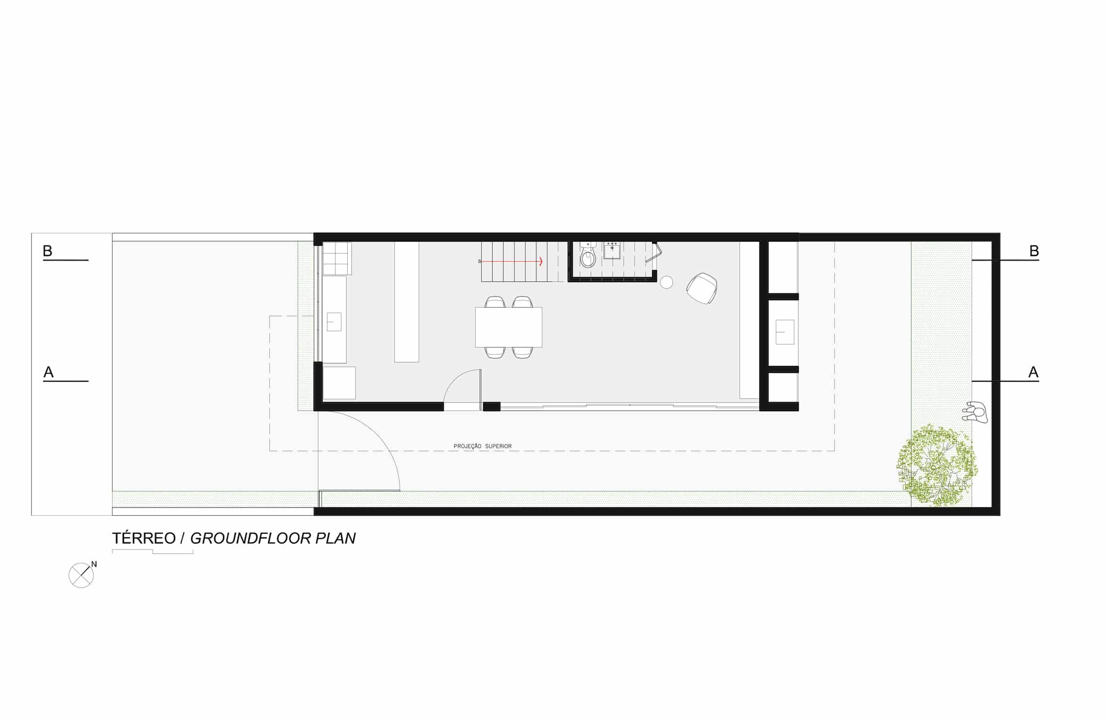 sencilla casa de dos pisos con planos y diseño de interiores