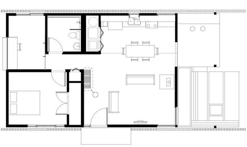 Plano de casa peque a con moderna fachada m s interiores for Diseno de oficinas pequenas planos