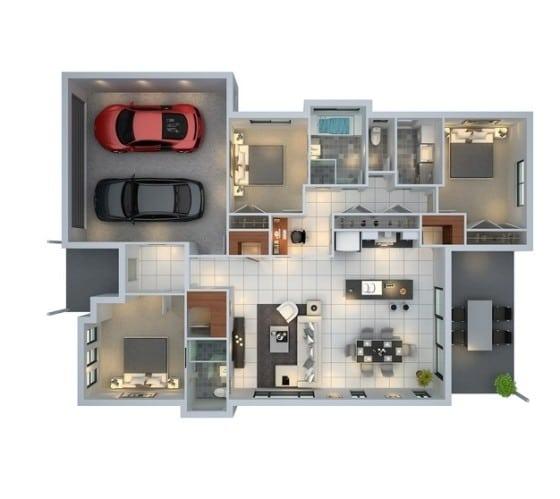 Plano de departamento con estacionamiento para dos autos y 3 habitaciones