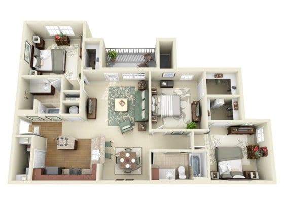 Plano de departamento moderno de 3 habitaciones