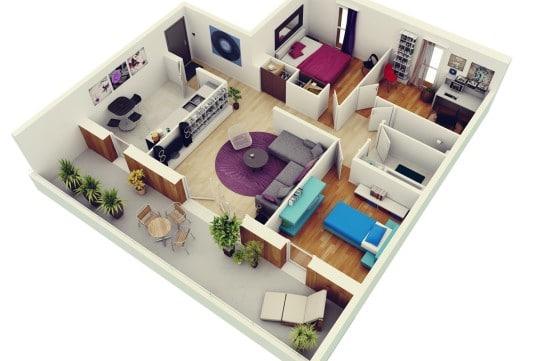 Planos de departamentos de 3 habitaciones construye hogar for Disenar habitaciones online 3d