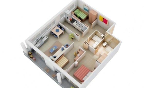 Plano de departamento pequeño de 3 habitaciones