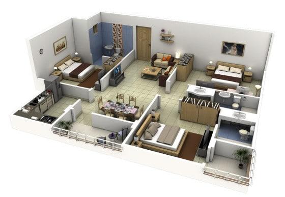 planos de casas 3 dormitorios 3d
