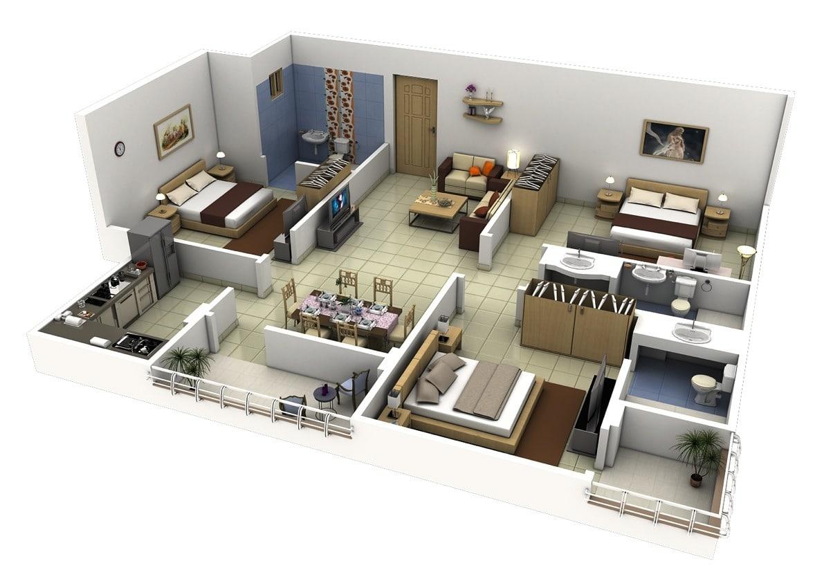 Planos de departamentos de 3 habitaciones - Cuanto cuesta pintar un piso de 60 metros cuadrados ...