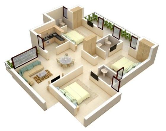 Plano de departamento sencillo de 3 habitaciones